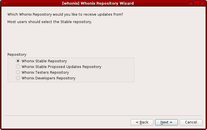 Whonix Repository Wizard select repo.png