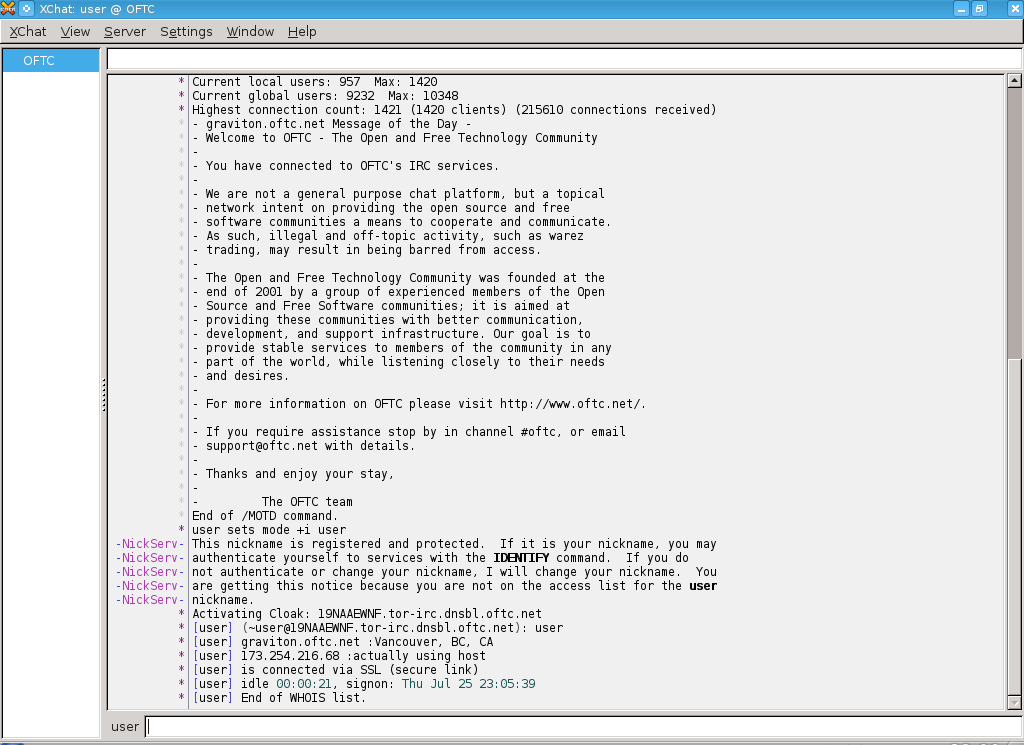 HexChat (IRC Client), showing /whois of oneself.