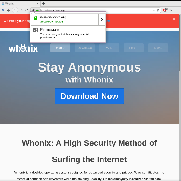 Tor Browser Basics - Whonix